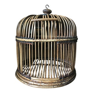 Vintage Bamboo Bird Cage For Sale
