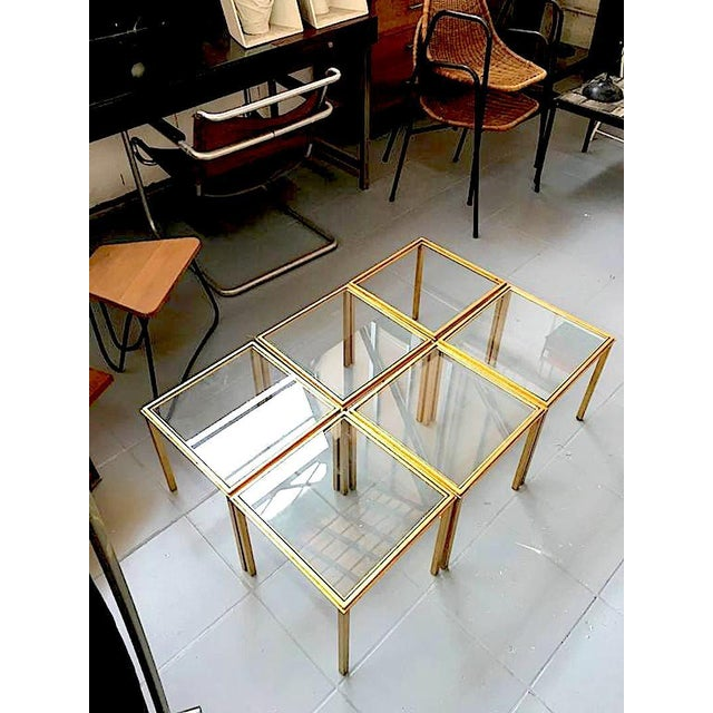 1950s Roger Thibier Spectacular Gold Leaf Wrought Iron Big Coffee Table Made of 6 Unit For Sale - Image 5 of 6