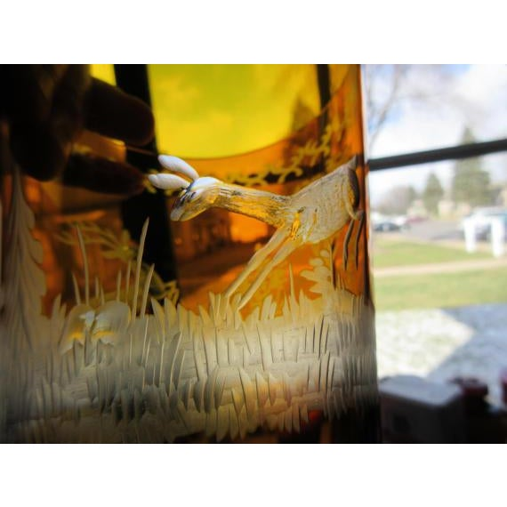 Czech Etched Amber Glass Tumbler - Image 6 of 7