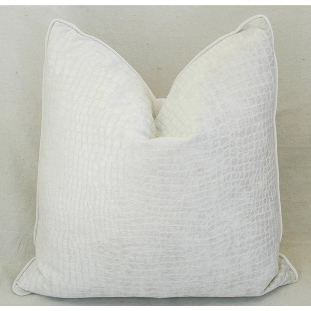 "Abstract Boho Chic Bone White Crocodile Velvet Feather/Down Pillows 24"" Square - Pair For Sale - Image 3 of 12"