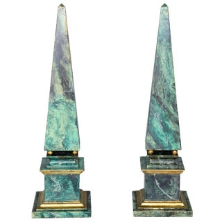 Faux Painted Wooden Obelisks - a Pair For Sale