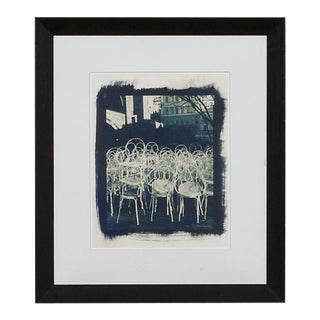 Framed Bistro Chairs in Prague Print of a Cyanotype Photograph For Sale