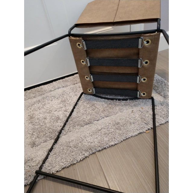 Modern Industrial Bar Stools With Vinyl - A Pair - Image 9 of 11