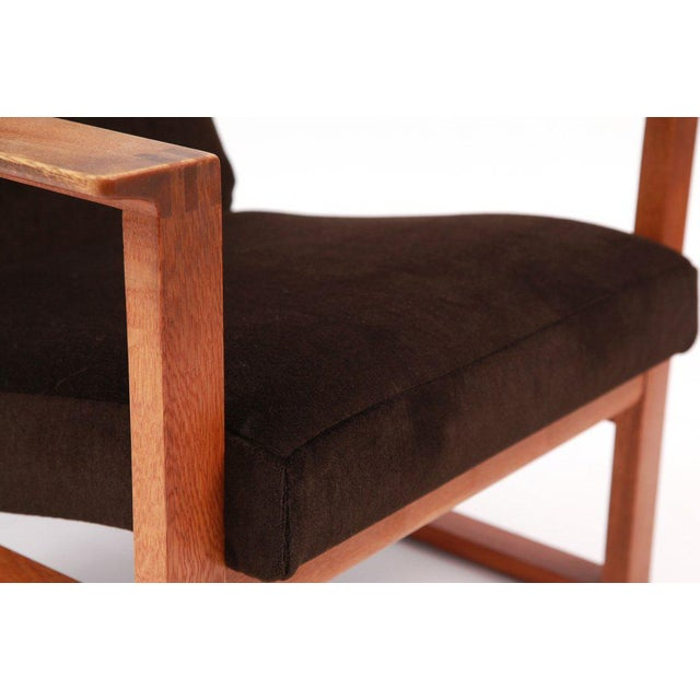 1950s Børge Mogensen Adjustable Oak and Mohair Lounge Chair For Sale - Image 5 of 7