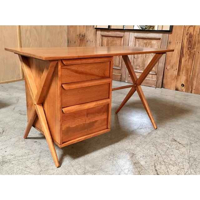1950's Maple X-Leg Desk With Bookcase For Sale - Image 13 of 13