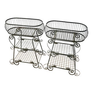 1950's Vintage Wrought Iron Garden Planters - A Pair For Sale