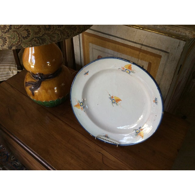 White Antique Blue & Yellow Provence Platter For Sale - Image 8 of 8