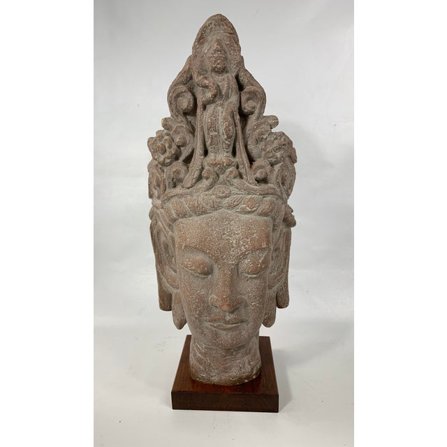1960s Vintage Austin Productions Guan Yin Buddha Goddess Stone Bust For Sale - Image 13 of 13