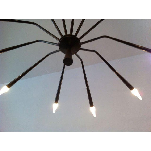 1960s Oscar Torlasco for Lumi Futurist Brass Sputnik Chandelier For Sale - Image 9 of 10