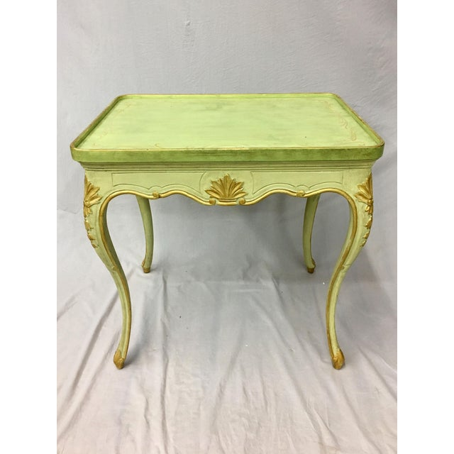 20th Century Louis XV Green Painted and Parcel Gilt Side Table For Sale - Image 4 of 7