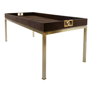 Bernhardt Faux Shagreen & Brass Coffee Table For Sale
