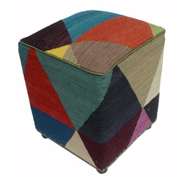 Arshs Deb Ivory/Red Kilim Upholstered Handmade Ottoman For Sale - Image 4 of 8