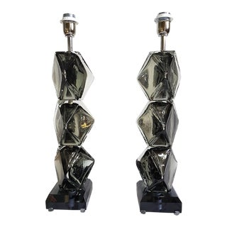 Pair of Silver Mirrored Murano Glass Lamps, Mid Century Modern, Cenedese Style For Sale