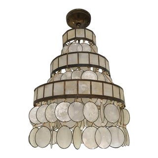 Tiered Capiz Shell and Brass Chandelier For Sale