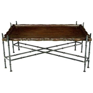 Chinese Chippendale Coffee Table With Stylized Bamboo Iron Base For Sale