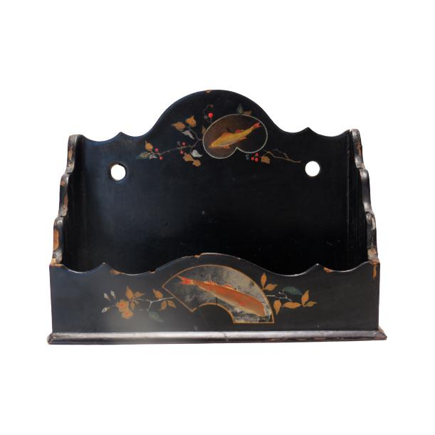 Antique Handpainted Victorian Wall Box For Sale - Image 9 of 9