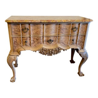 19th Century French Breccia Marble Top Two Drawer Server For Sale