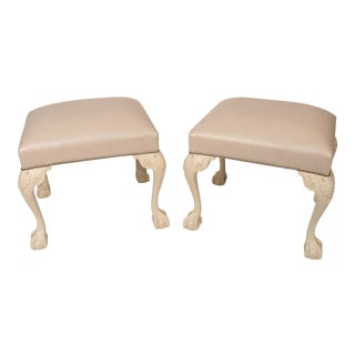 Chippendale Ivory Painted and Leather Upholstered Benches - a Pair For Sale