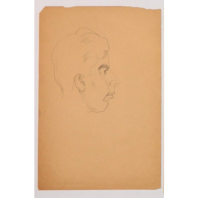 Portraiture 1940s Paul Travis Self Portrait Drawing For Sale - Image 3 of 4