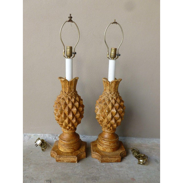 Brown 1970s Italian Haute Design Carved Wood Pineapple Lamps - a Pair For Sale - Image 8 of 9