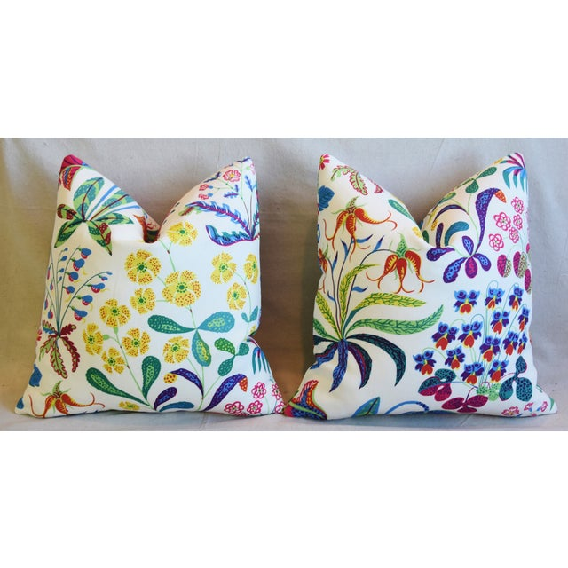 """Designer Josef Frank Floral """"Under Ekatorn"""" Linen Feather/Down Pillows 18"""" Square - Pair For Sale In Los Angeles - Image 6 of 11"""