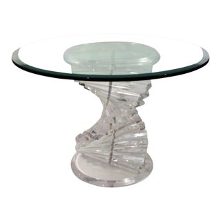 1970's Mid-Century Modern Acrylic / Lucite W Glass Top Spiral Helix Side Table For Sale