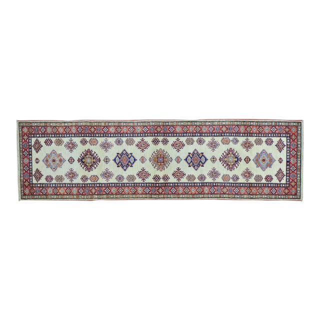 Kazak Ivory Hand Knotted Pure Wool Rug- 2′10″ × 10′ For Sale
