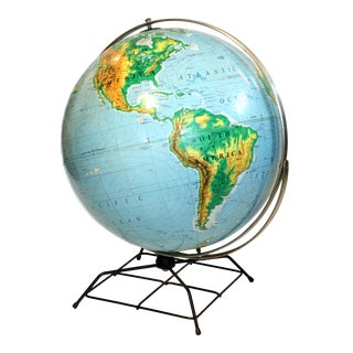 Vintage World Globe on Metal Stand For Sale