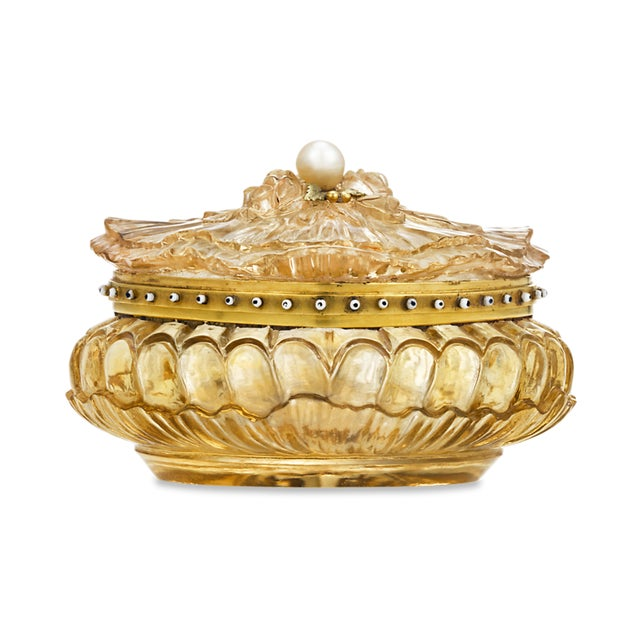 Carved Citrine Pill Box For Sale In New Orleans - Image 6 of 6