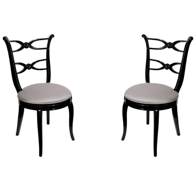 Pair of 1940's Hollywood Lyre Back Occasional Chairs For Sale - Image 9 of 9