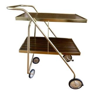 Midcentury Danish Wood & Brass Serving Cart For Sale