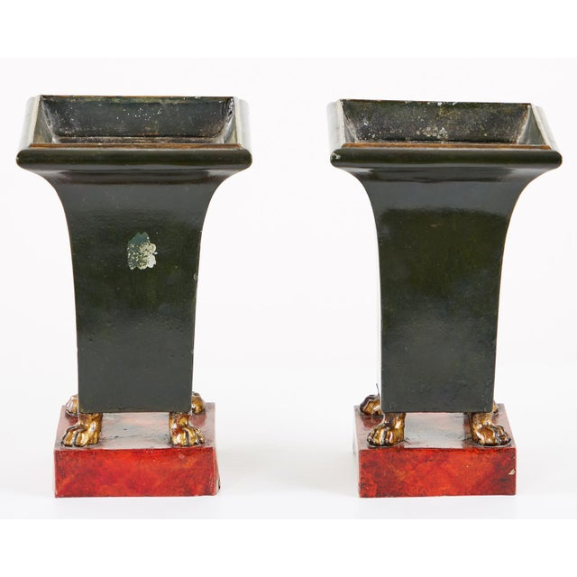 French Neoclassical Directoire Style Tole Vases - a Pair For Sale - Image 4 of 13