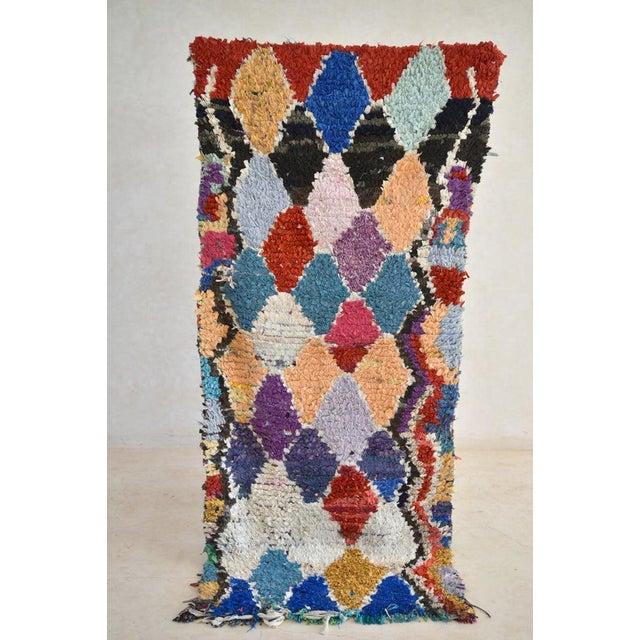 1970s Vintage Boucherouite Moroccan Wool Rug - 2′10″ × 6′8″ For Sale In Washington DC - Image 6 of 6
