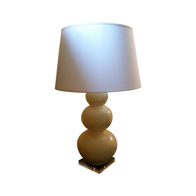 2010s Large Triple-Gourd Yellow Ceramic Table Lamp For Sale - Image 5 of 5