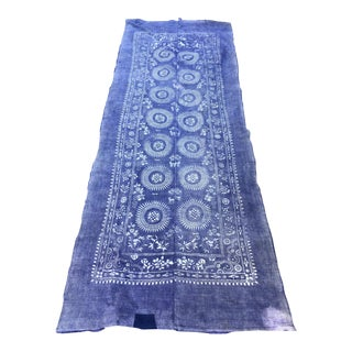 Antique Batik Indigo Runner or Yardage