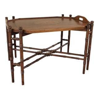 Vintage Chinoiserie Faux Bamboo Tray Table For Sale