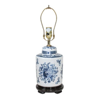 Asian Style Blue & White Table Lamp For Sale