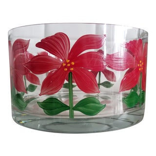 Hand Painted Poinsettia Heavy Crystal Trifle Studio Art Glass Trifle Bowl For Sale
