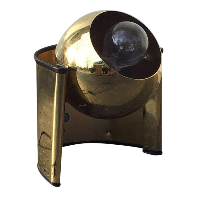 "Mid-Century Brass ""Eyeball"" Spotlight Lamp - Image 1 of 7"