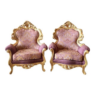 1940s Vintage Italian Rococo Style Throne Chairs - A Pair For Sale