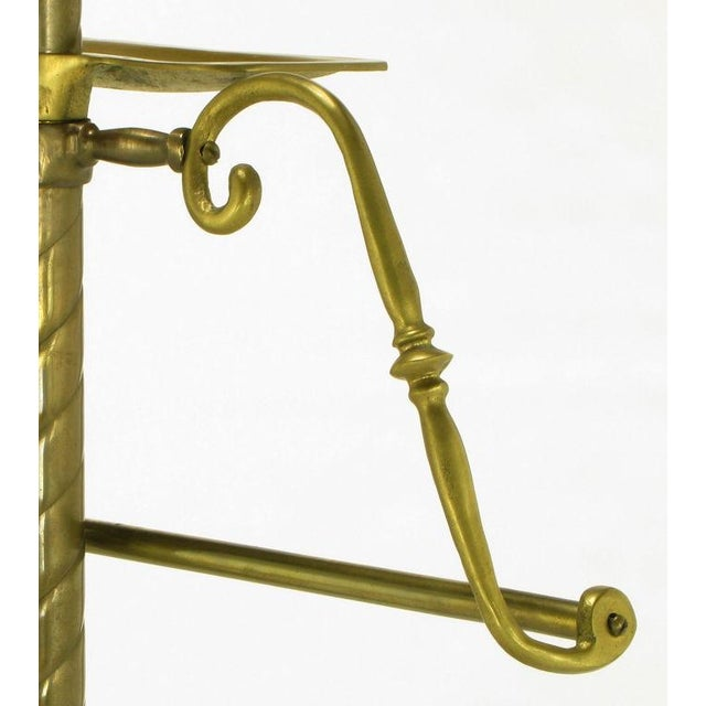Spiral Brass Valet With Brass Ball Finial & Tray On Tripod Base - Image 4 of 6