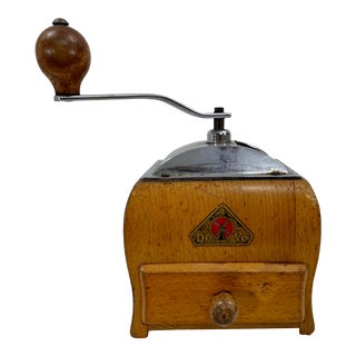 Antique De Ve Dutch Metal and Wood Coffee Grinder For Sale