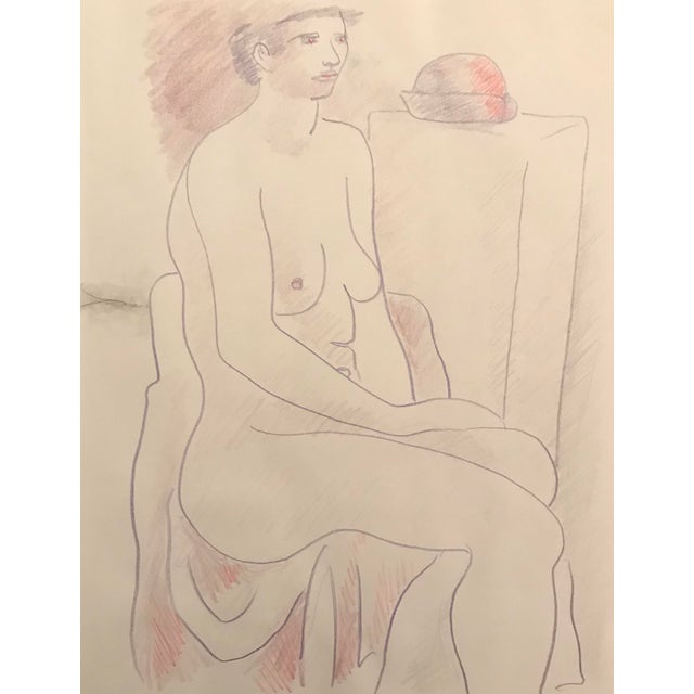 Figurative 1990s Seated Female Nude Studio Drawing by James Bone For Sale - Image 3 of 3