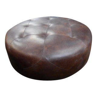 Oxford Brown Leather Ottoman with Diamond Tiled Leather