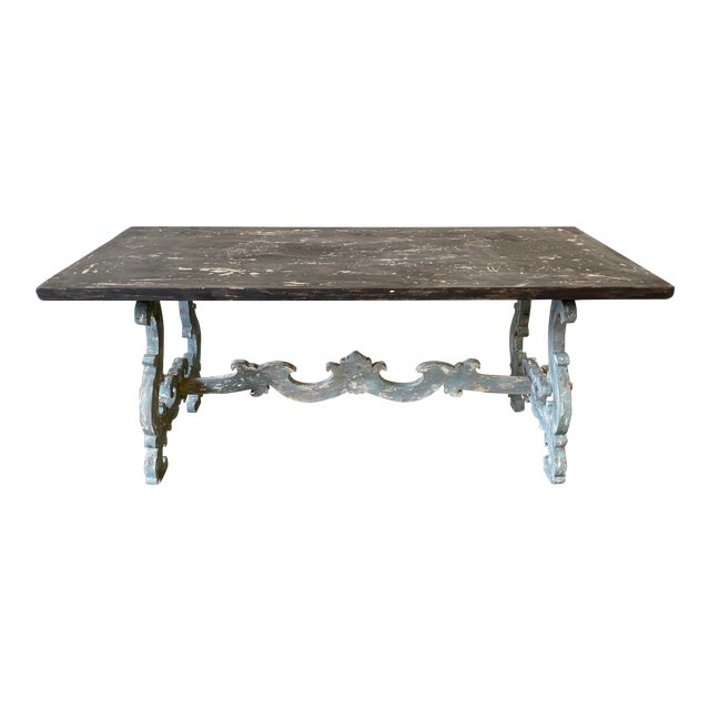 Tuscan Painted Trestle Dining Table For Sale