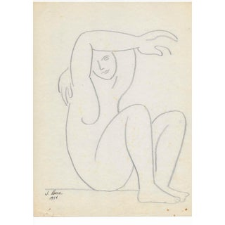 Mid-Century Modern Seated Female Figure Drawing For Sale