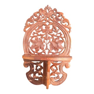Boho Carved Wood Collapsible Wall Shelf For Sale