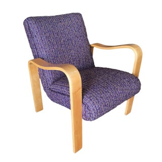 Thonet Bentwood Armchair With Purple Knoll Upholstery For Sale