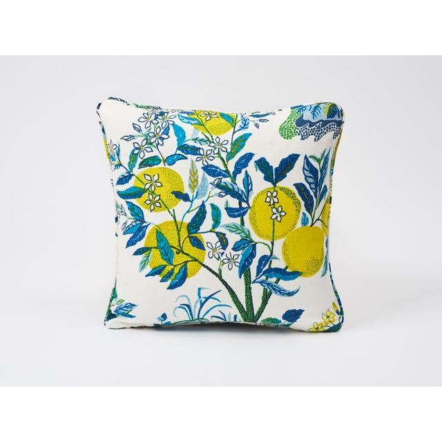 Schumacher Double-Sided Pillow in Citrus Garden Pool Blue Linen Print - Image 7 of 7