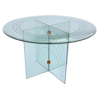 Mid-Century Round Glass Dining Table